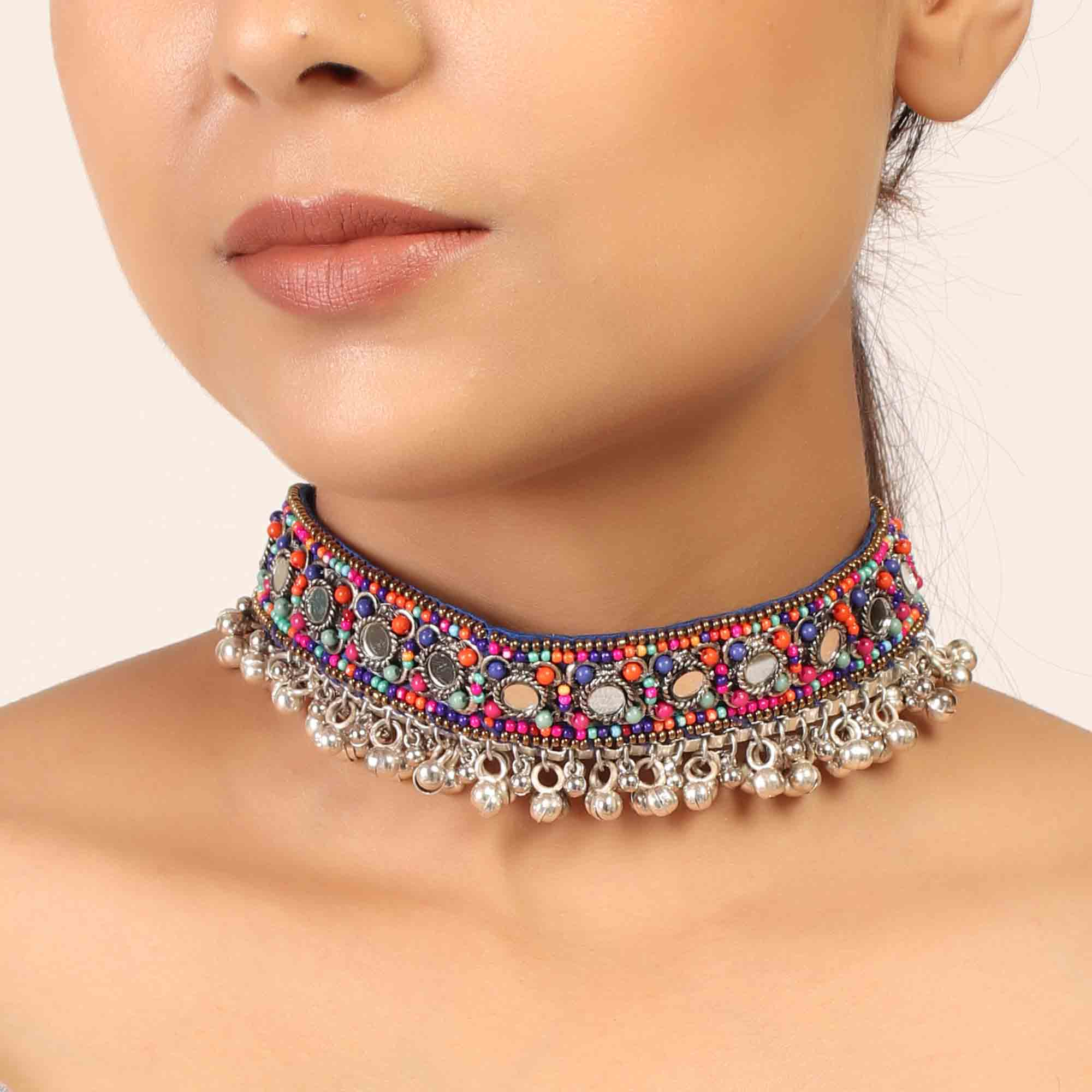 Necklace,The Splashy Colorful Beaded Choker - Cippele Multi Store