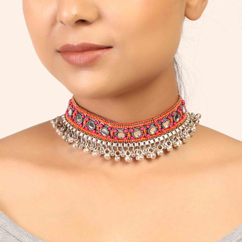 Necklace,The Splashy Pink & Orange Beaded Choker - Cippele Multi Store