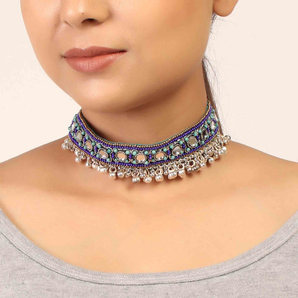 Necklace,The Splashy Blue & Green Beaded Choker - Cippele Multi Store