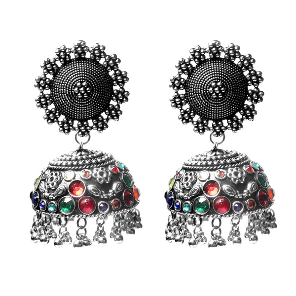 Earrings,Jhoomer Earring with Multicolored Rhinestones - Cippele Multi Store