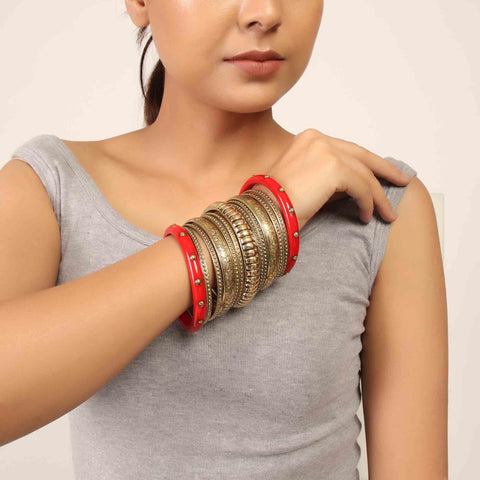 Hand Cuff,Exquisite Medieval Bangle Set in Red - Cippele Multi Store