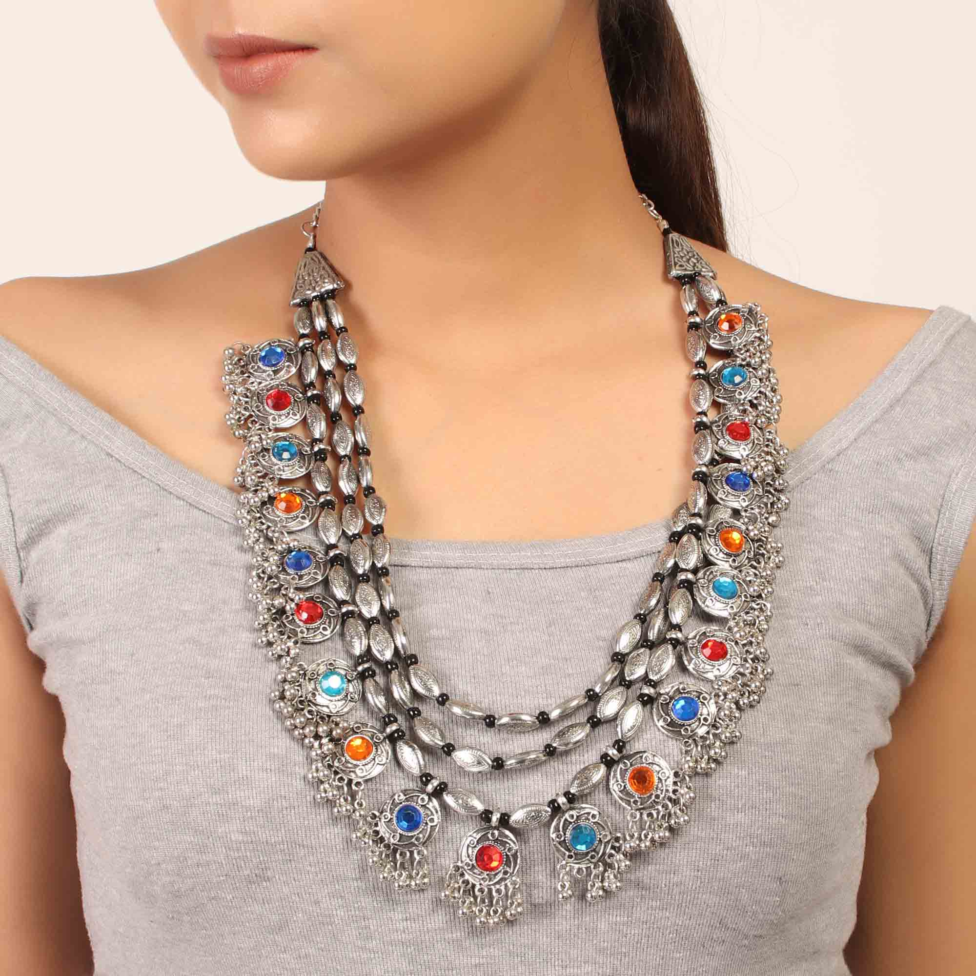 Necklace,Rajwada Necklace in Silver hue with Multicolored Stones - Cippele Multi Store