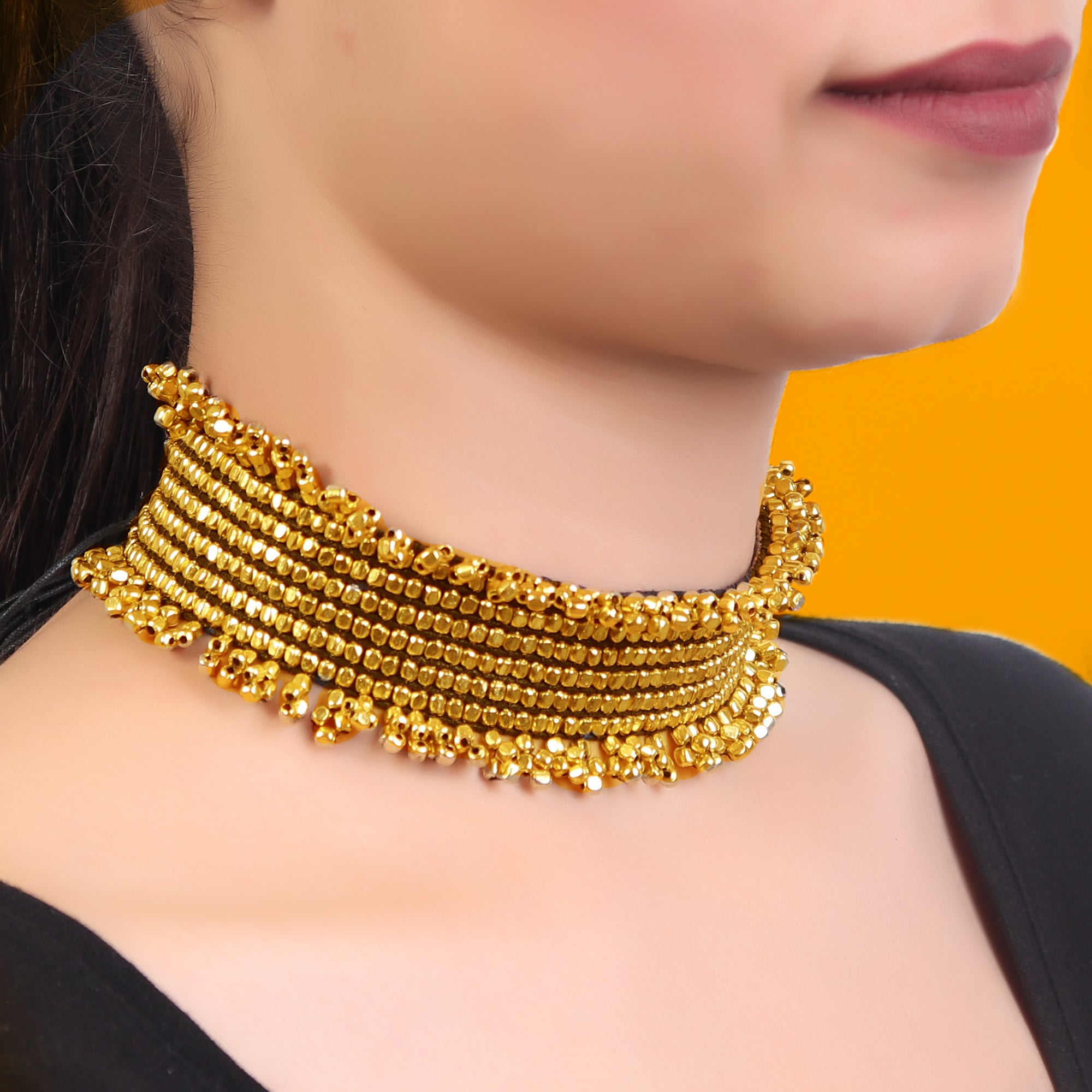 Necklace,Bold in Gold Choker - Cippele Multi Store