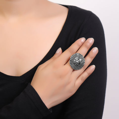 Ring,Egyptian Soldier Bold Ring  in Silver Hue - Cippele Multi Store