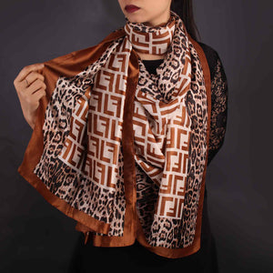 Scarf,Brown Printed Designer Stole - Cippele Multi Store