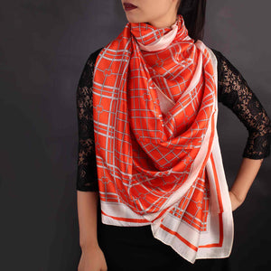 Scarf,Orange & White Chequered Designer Stole - Cippele Multi Store