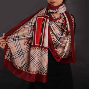 Scarf,Red & Black Chequered Designer Stole - Cippele Multi Store