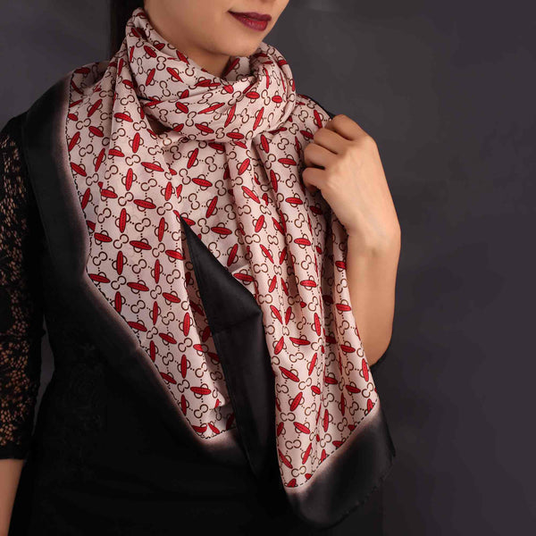 Scarf,Red & White Printed Designer Stole - Cippele Multi Store