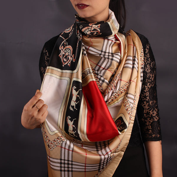Brown Chequered Designer Stole
