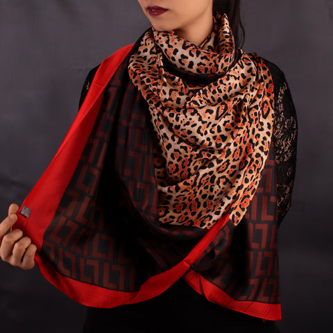 Scarf,Red & Black Animal Print Designer Stole - Cippele Multi Store