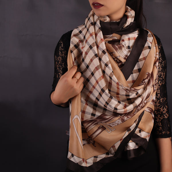 Scarf,Brown & White Gingham Print Designer Stole - Cippele Multi Store