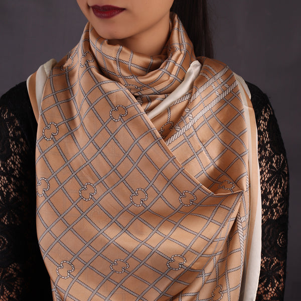 Light Brown Chequered Stole