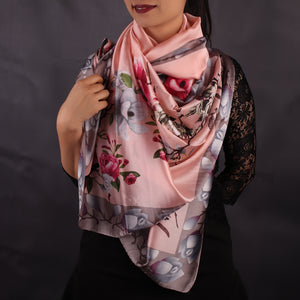 Pink Floral Printed Stole