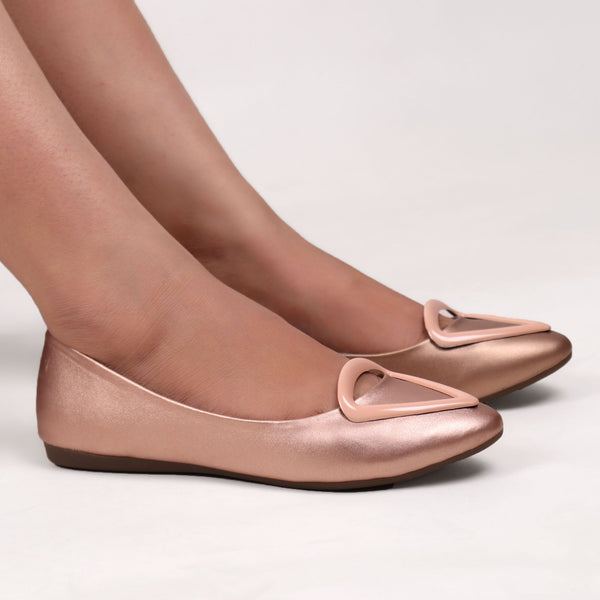 Foot Wear,Love that Triangle Basic Flats in Rose Gold Pink - Cippele Multi Store