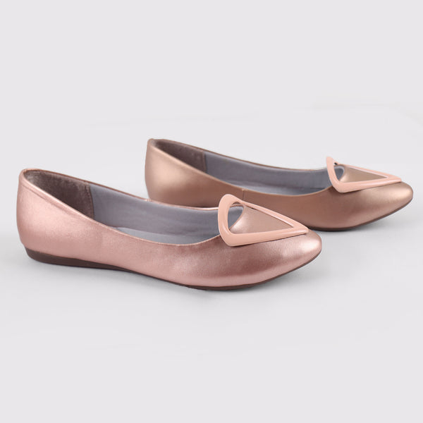 Foot Wear,Love that Triangle Basic Flats in Pink - Cippele Multi Store