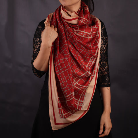 Maroon Chequered Stole