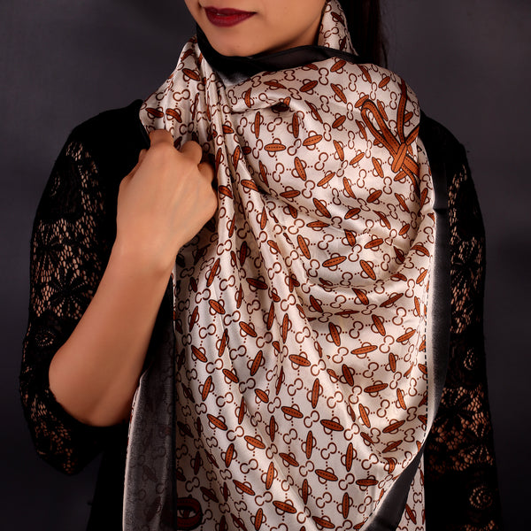 Brown & White Printed Designer Stole
