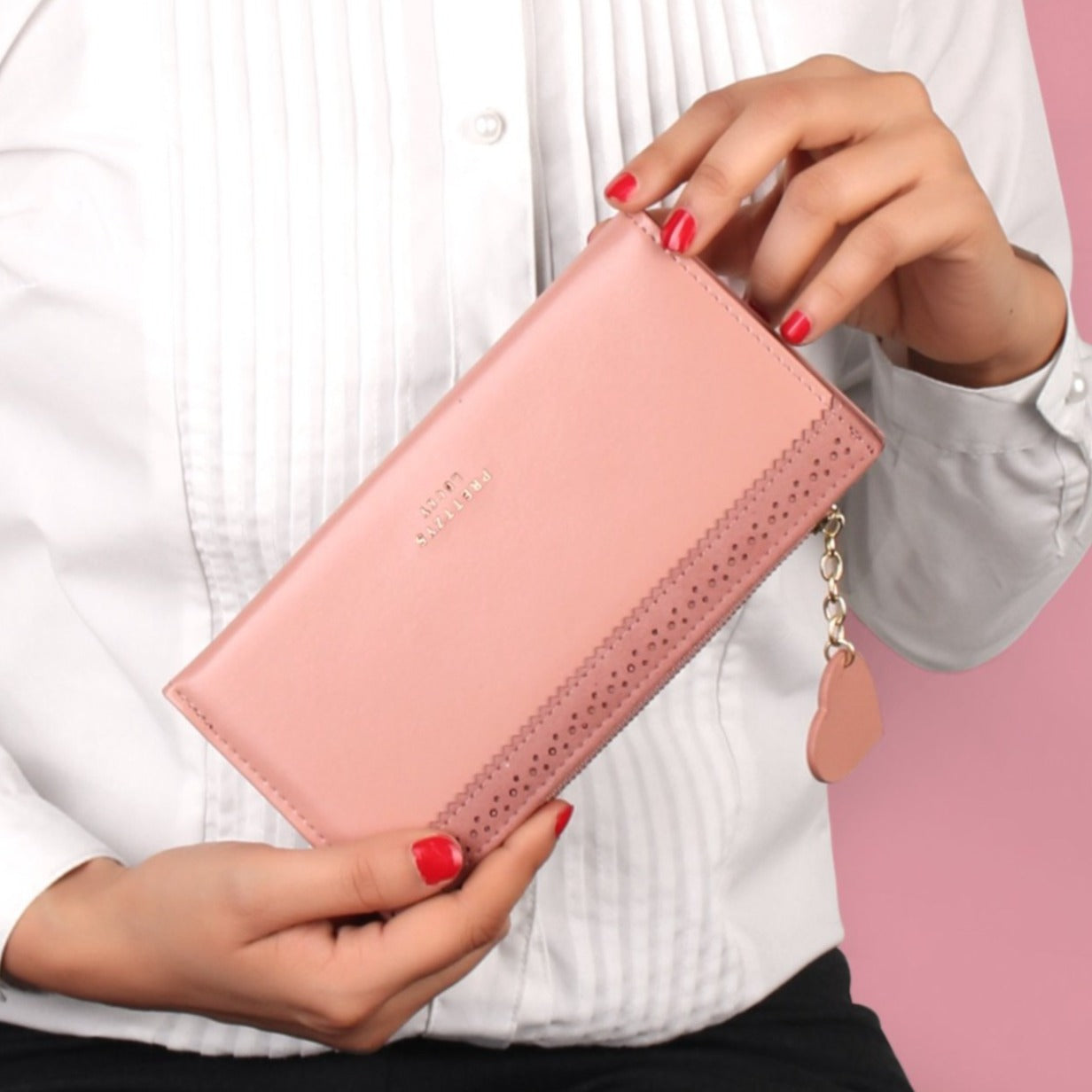 The Punched Ribbon Wallet in Peach