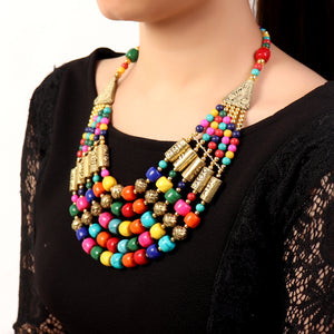 Necklace,Multicolored Layered Beaded Necklace - Cippele Multi Store