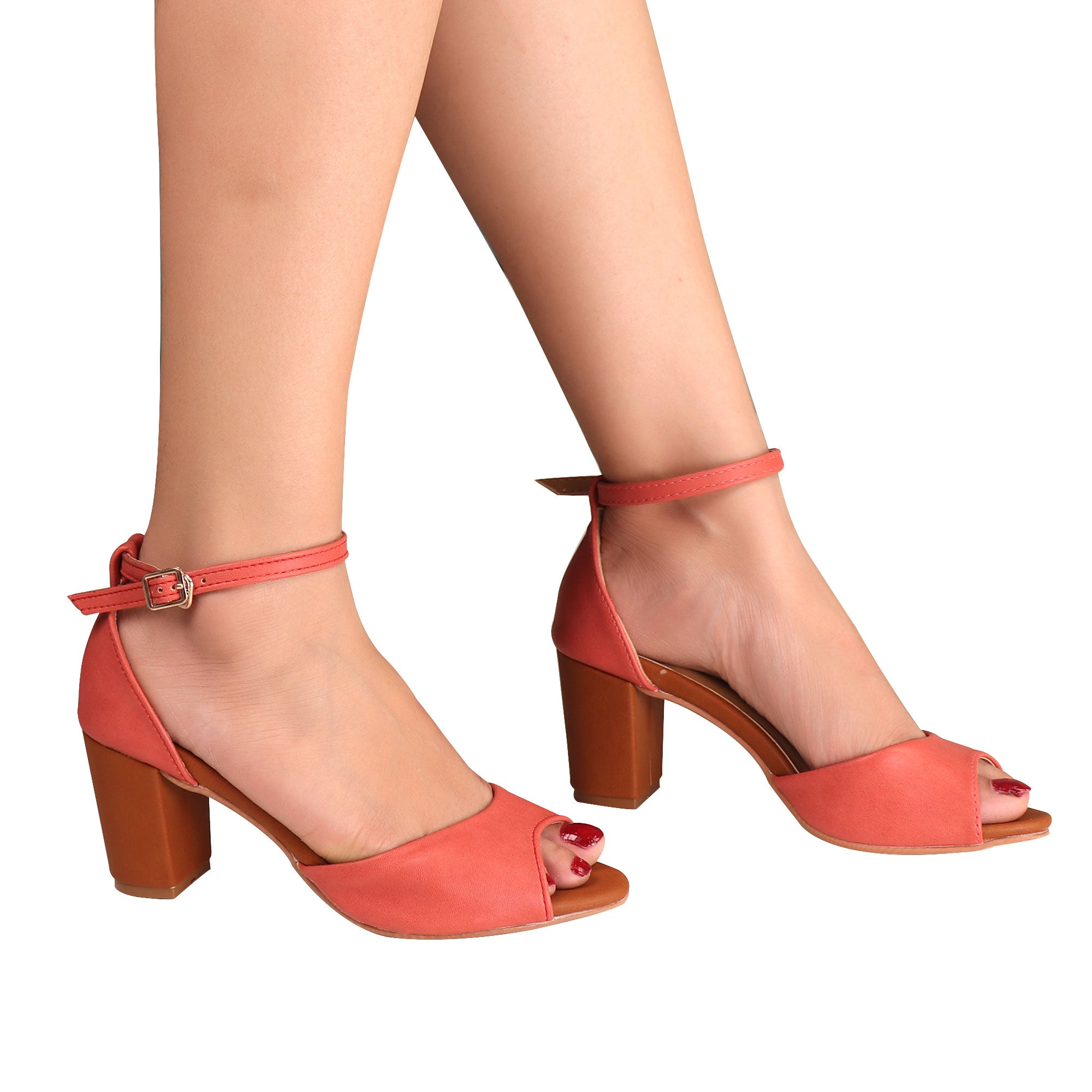 Foot Wear,The fashionista Block Heels In Peach Pink - Cippele Multi Store