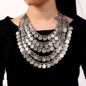 Necklace,Layered Coin Necklace - Cippele Multi Store