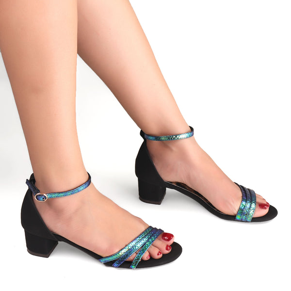 Triple Strap Color Essence Block Heel