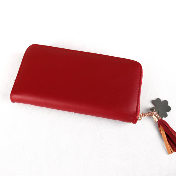 The Boxy inverted Clamped wallet with Tassels in Maroon