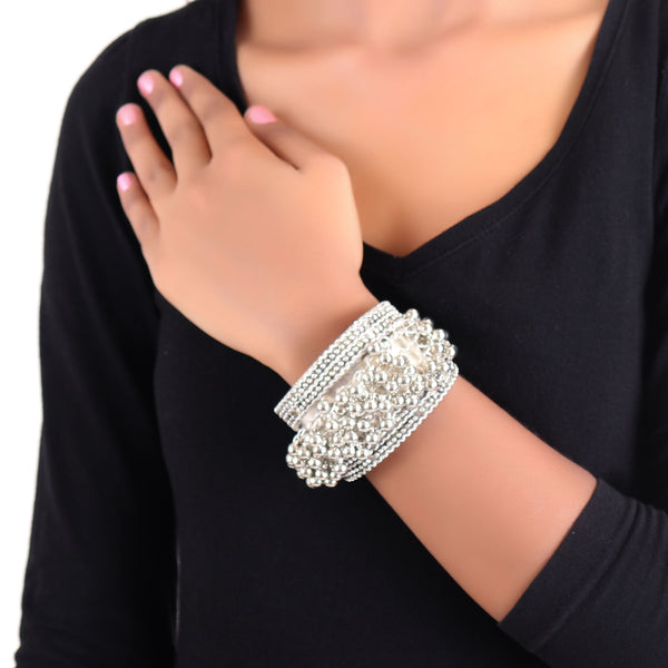 Hand Cuff,Silver Kada with Trinkets - Cippele Multi Store