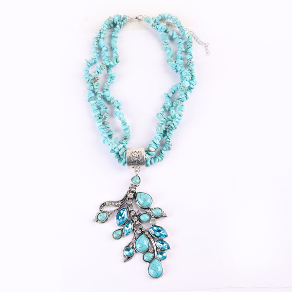 Necklace,Beaded Turquoise Necklace with Leaf Pendant - Cippele Multi Store