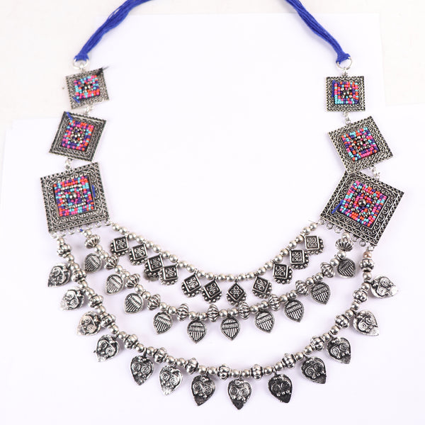 Necklace,Statement Layered Necklace with Multicolor Accents - Cippele Multi Store