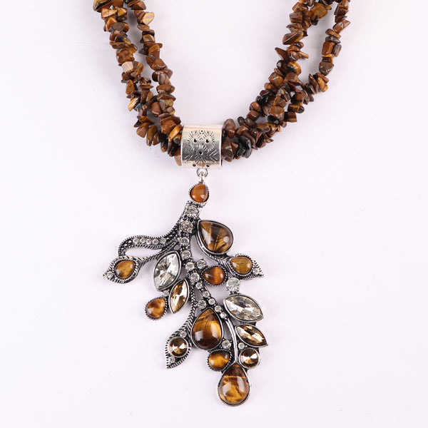 Necklace,Beaded Brown Necklace with Leaf Pendant - Cippele Multi Store