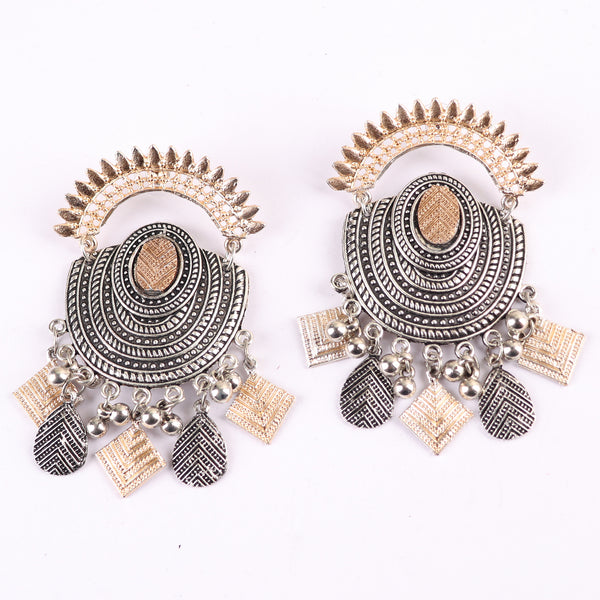 Earrings,Oval Shaped Dual Tone Oxidized Earrings - Cippele Multi Store