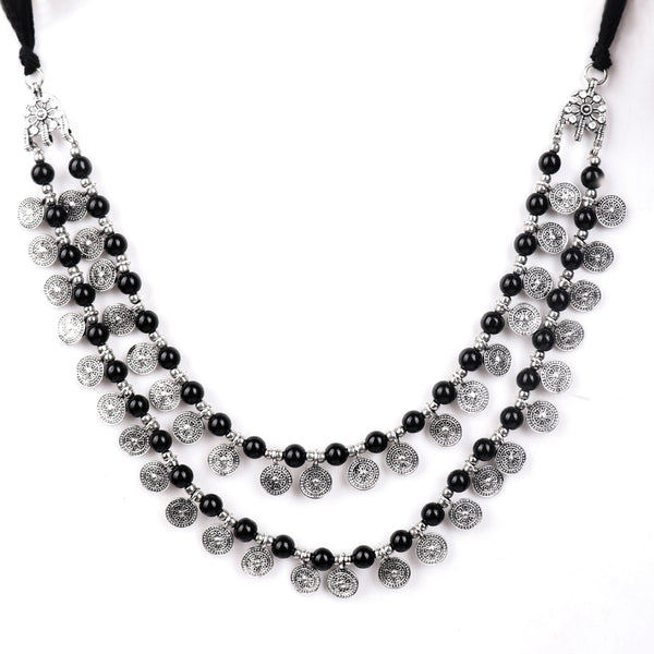Necklace,Layered Necklace with Black Beads - Cippele Multi Store