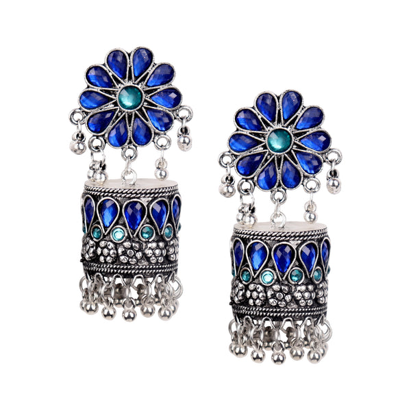 Earrings,Blue Flower Designer Jhumkas - Cippele Multi Store
