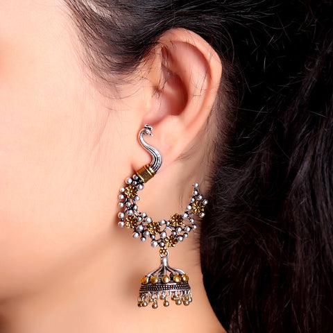 Earrings,Peacock Stylish Two Tone Jhumkis - Cippele Multi Store