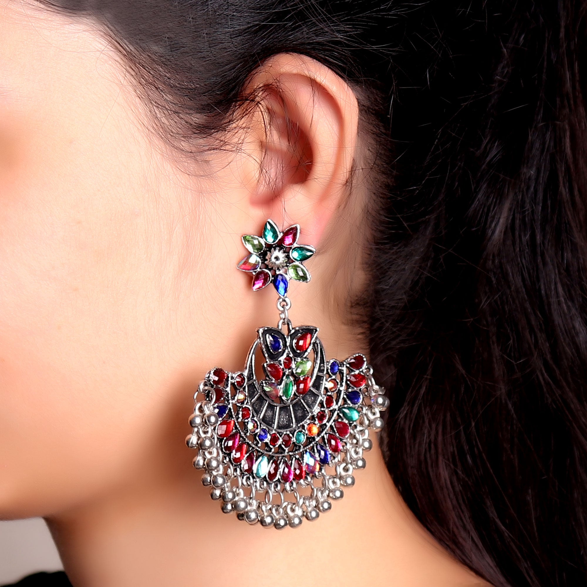 Earrings,Crescent  Rhinestone Jhumkas - Cippele Multi Store