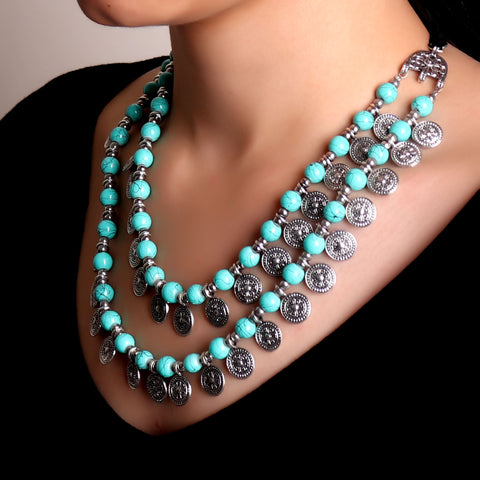 Necklace,Layered Necklace with Jade Green Beads - Cippele Multi Store