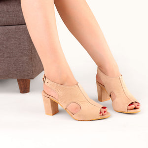 Foot Wear,The Enshroud Suede Block Heel in Light Brown - Cippele Multi Store