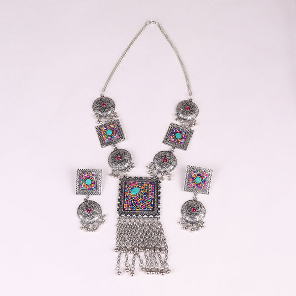 The Royal Sultana Necklace Set in Multicolor