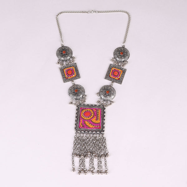 Necklace Set,The Royal Sultana Necklace Set in Pink & Orange - Cippele Multi Store