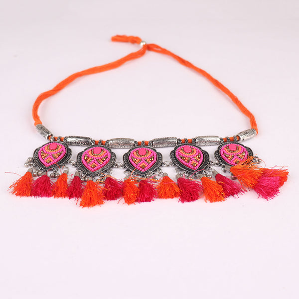The Fireflies Tassels Necklace Set in Pink & Orange