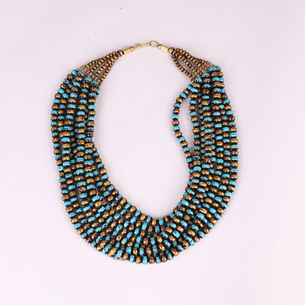 Necklace,The Banarasi Wooden Beaded Necklace in Blue, Black & Golden - Cippele Multi Store