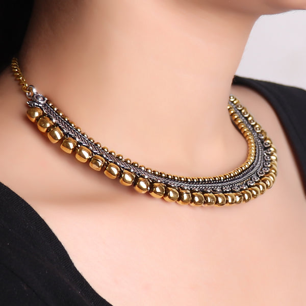 Necklace,Golden Beads Sleek Choker - Cippele Multi Store