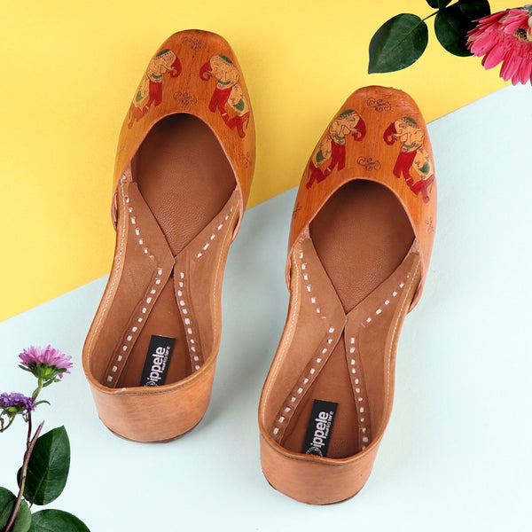 Foot Wear,The Hand Painted Safari Jutti - Cippele Multi Store