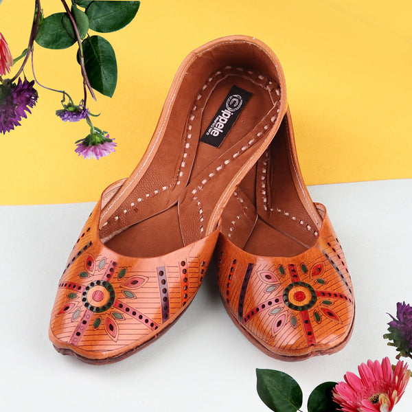 Foot Wear,The Hand Painted Rangoli Jutti - Cippele Multi Store