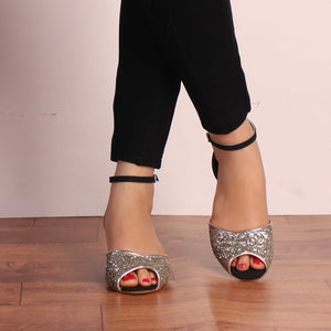 The Golden Star in you Peep Toe Block Heels