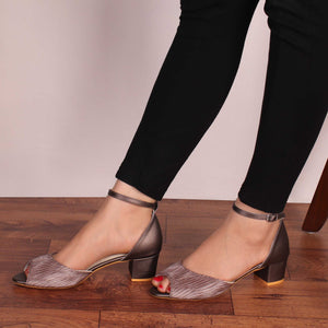 The Ripple Grey Block Heel