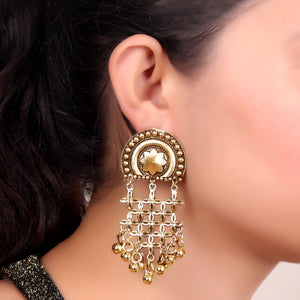 Earrings,Pinch me Floral Dropdown Earrings in Gold Hue - Cippele Multi Store