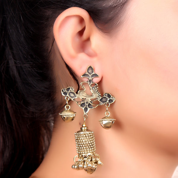 Earrings,Ghungroo Love Earrings in Golden - Cippele Multi Store