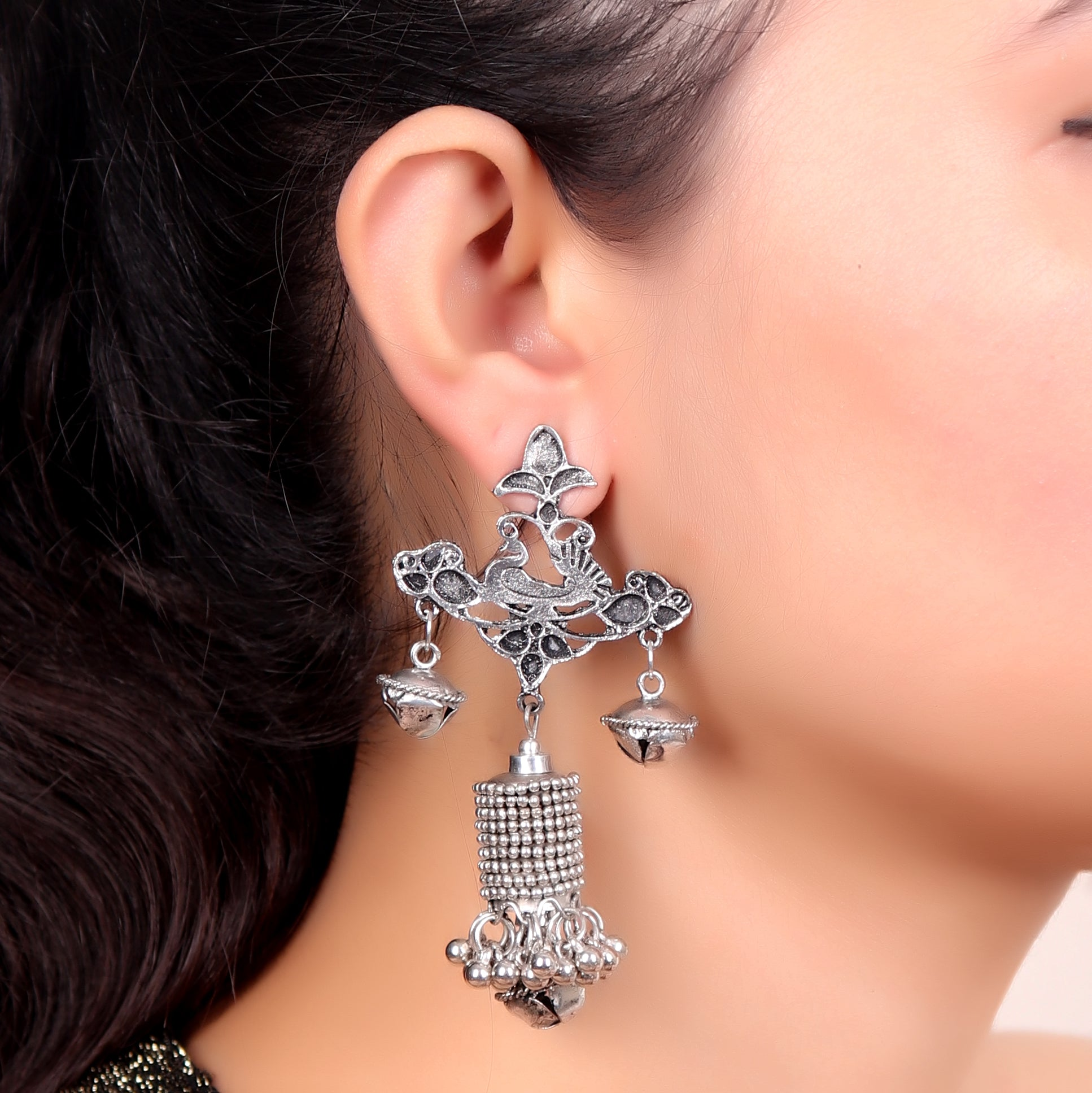 Earrings,Ghungroo Love Earrings in Silver - Cippele Multi Store